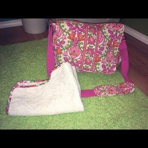 Pink Vera Bradley diaper bag.